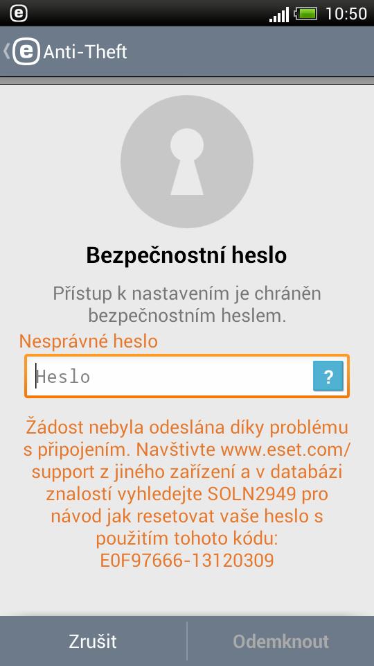 Odblokovací kód ESET Mobile Security zobrazený přímo na displeji telefonu
