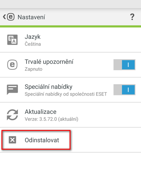 Nastavení programu ESET Mobile Security