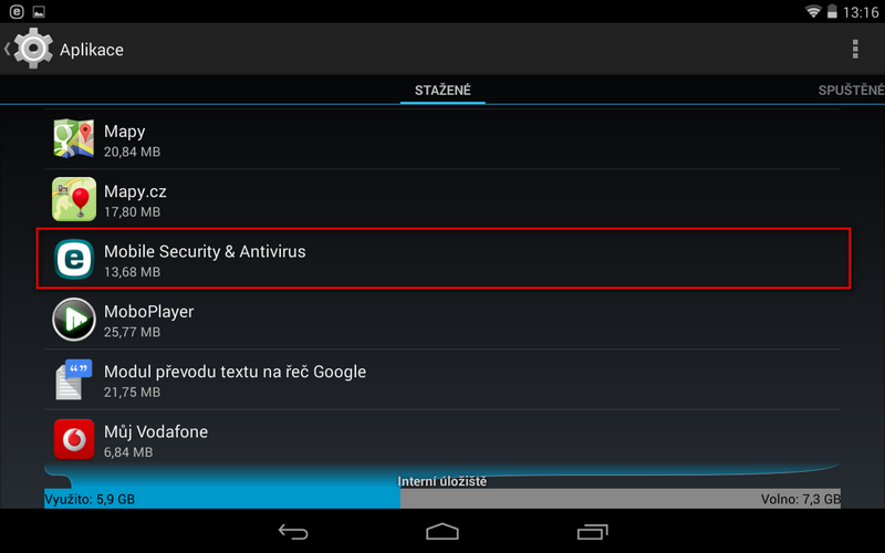 Správce aplikací OS Android