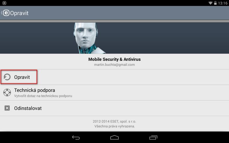 Opravení aplikace ESET Mobile Securitx