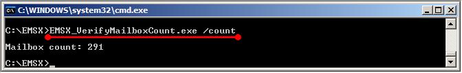 Spuštění nástroje EMSX MailboxCountTool pro zjištění počtu schránek v Active Directory