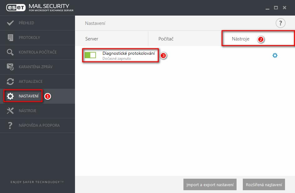 Aktivace diagnostického protokolování v produktu ESET Mail Security