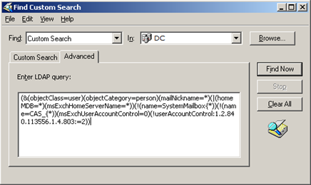 Zadání LDAP dotazu pro výpis počtu poštovních schránek v Active Directory