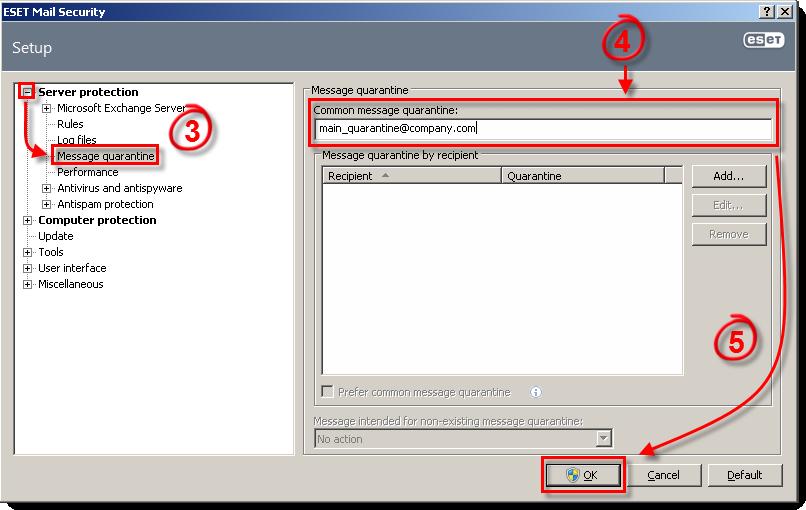 Nastavení ESET Mail Security pro Microsoft Exchange