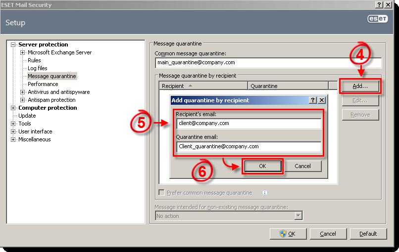 Nastavení karantény ESET Mail Security pro Microsoft Exchange