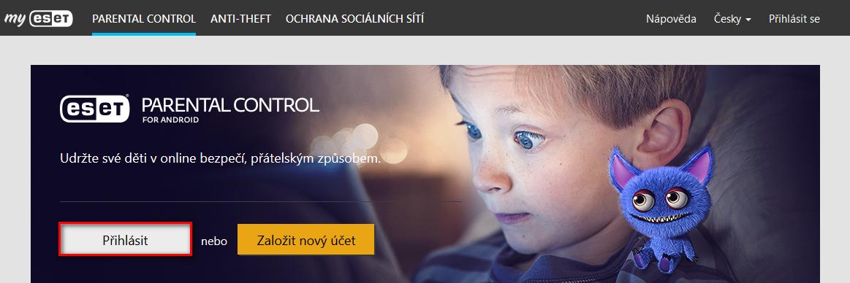 ESET Parental Control online portál