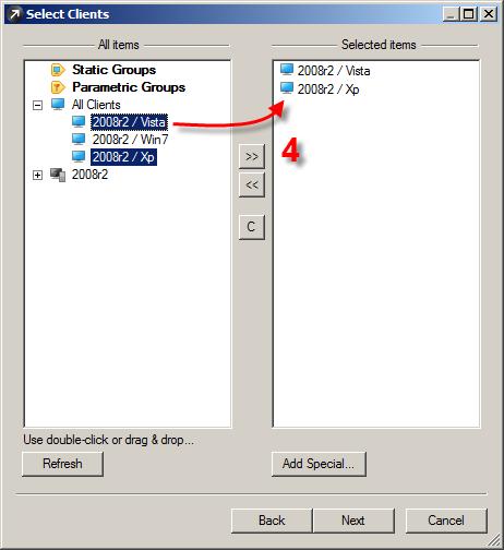 Výběr klientů, na kterých chcete vrátit aktualizaci pomocí ESET Remote Administrator Console