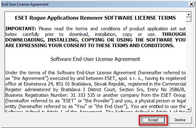 Licenční ujednání ERAR