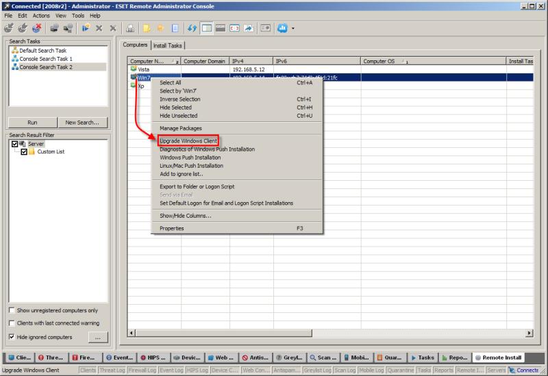 Výběr počítače v ESET Remote Administrator, který chcete aktualizovat