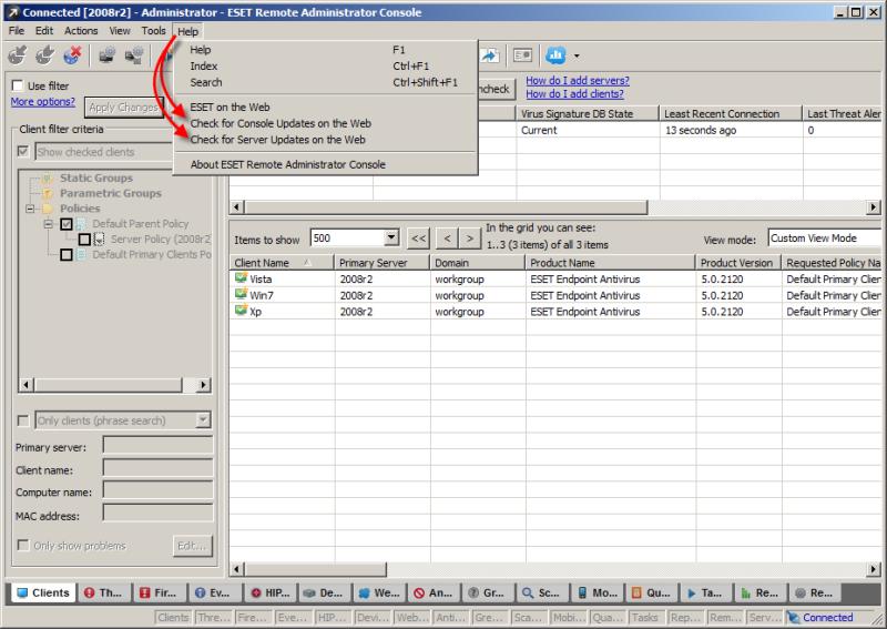 Kontrola aktualizace konzole ESET Remote Administrator