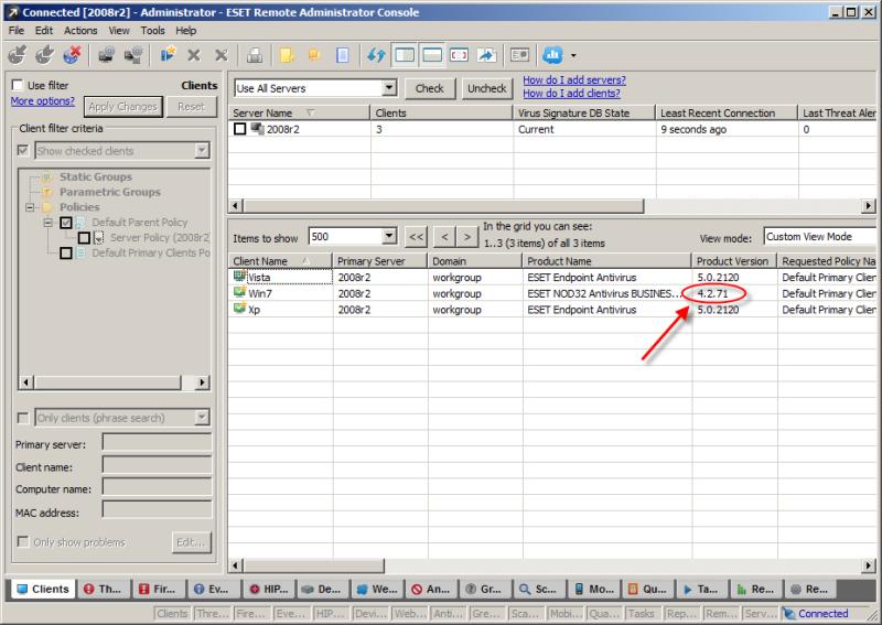 Kontrola verze programu ESET na klientském počítači pomocí ESET Remote Administrator
