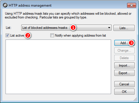 HTTP address management