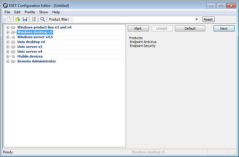 Konfigurační editor ESET