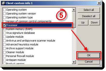 Výběr client custom info