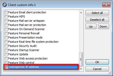 Nastavení client custom info