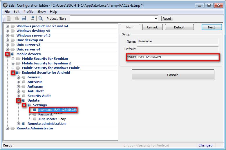 Zadání uživatelského jména v konfiguračním editoru v ERA