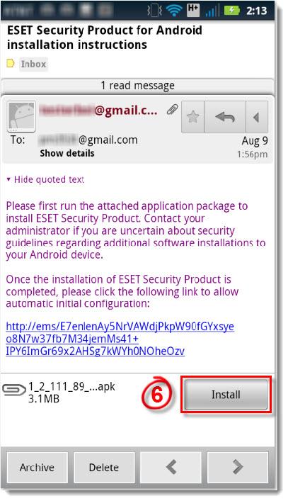 Otevření e-mailu na mobilním zařízením
