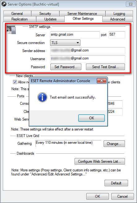 Úspěšné nastavení SMTP v ERA
