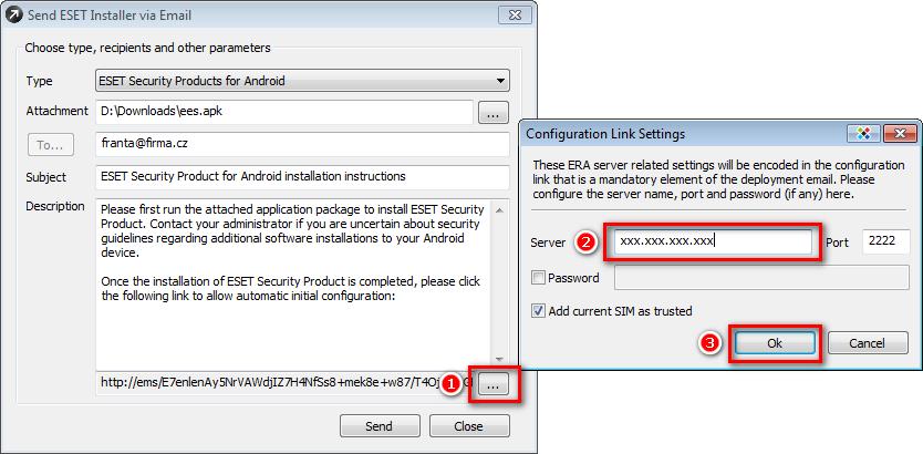 Odesílání ESET Mobile Security e-mailem