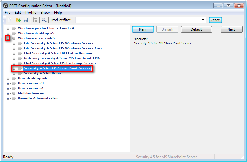 Konfigurační editor ESET Remote Administrator