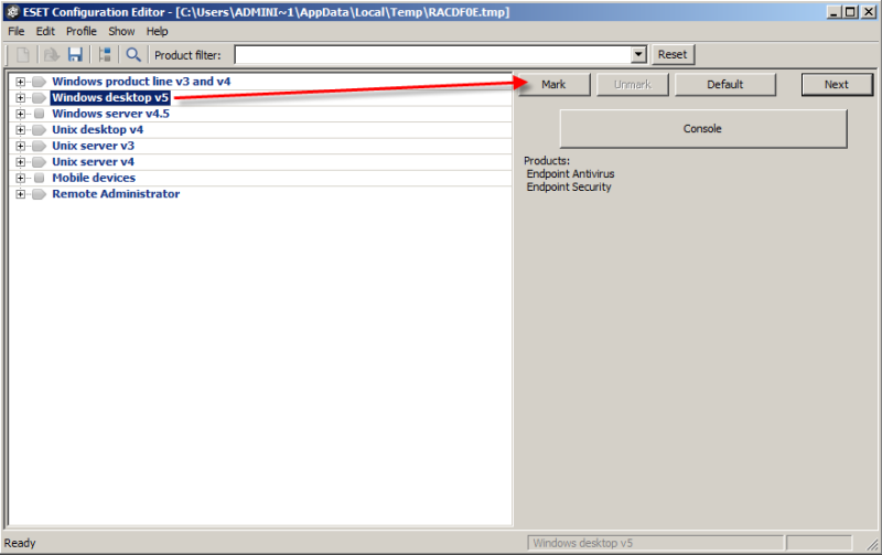 ESET Configuration Editor v ERA