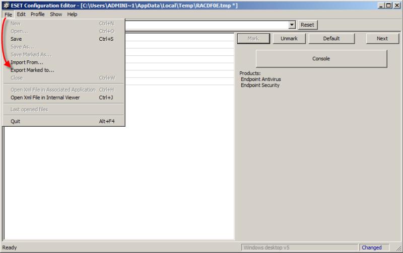 ESET Configuration Editor v ESET Remote Administrator