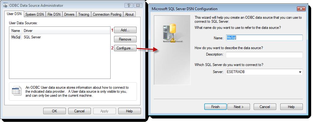 Vzorová konfigurace MS SQL ODBC ovladače