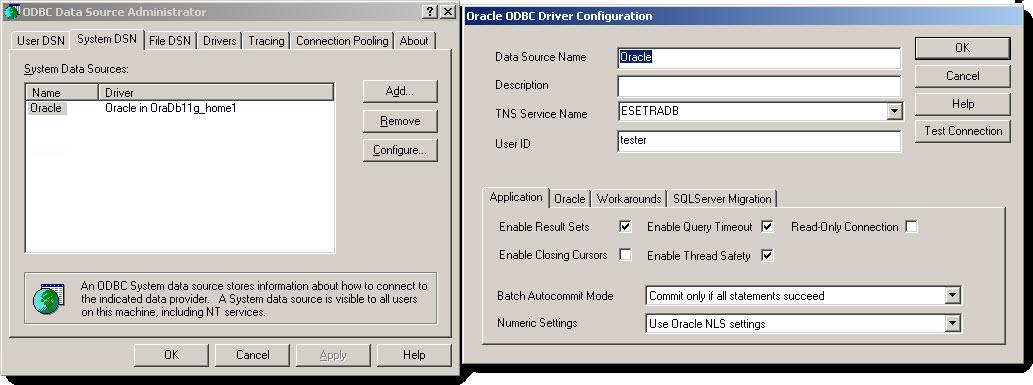 Vzorová konfigurace MySQL ODBC ovladače
