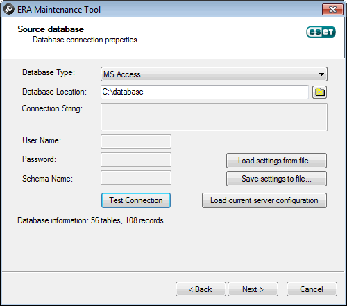 ERA Maintenance Tool - připojení k původní DB
