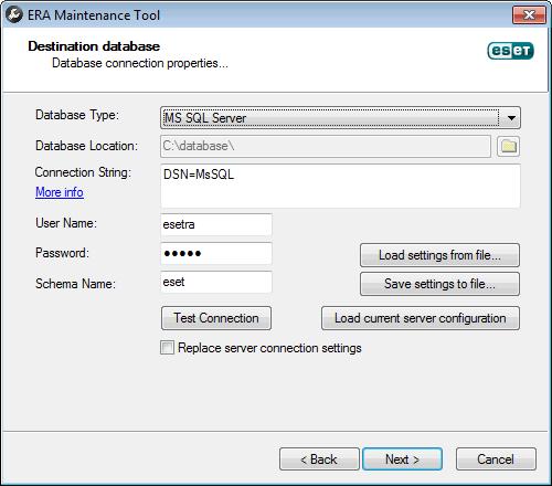 ERA Maintenance Tool - připojení k nové DB