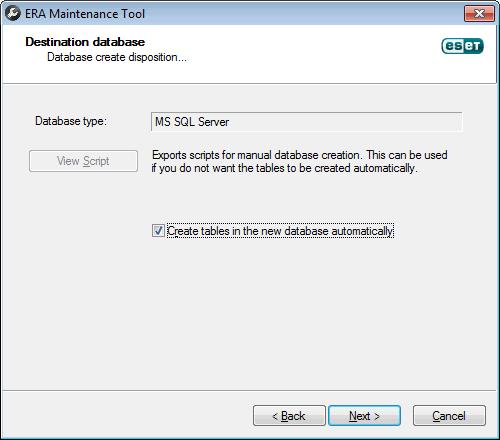 ERA Maintenance Tool - export obsahu databáze