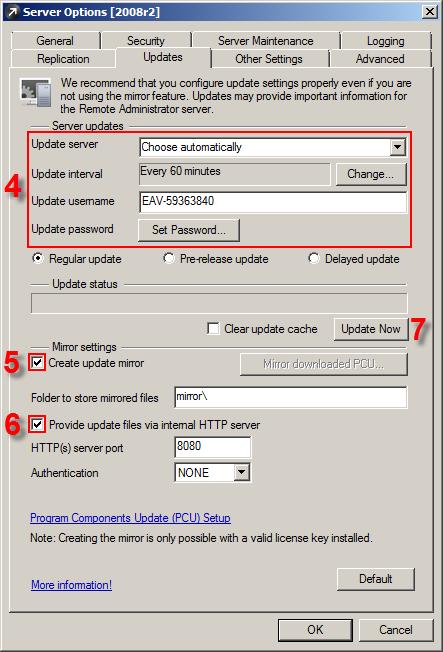 Konfigurace Mirroru jako HTTP server pomocí ESET Remote Administrator