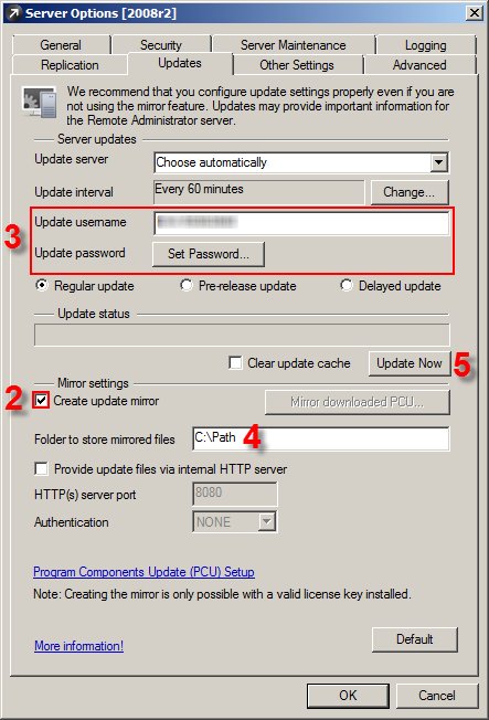 Konfigurace Mirroru jako sdílená složka pomocí ESET Remote Administrator