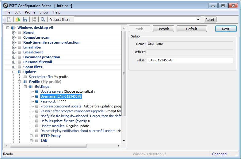 Zadání licenčních údajů do konfiguračního editoru