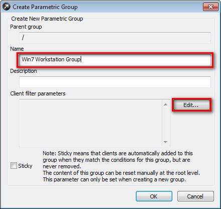 Vytvoření parametrické skupiny