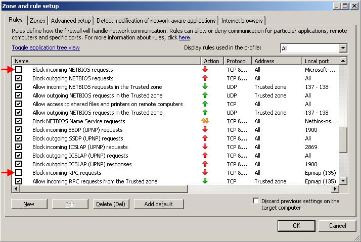 Nastavení pravidel a zón Personálního firewallu pomocí ERA