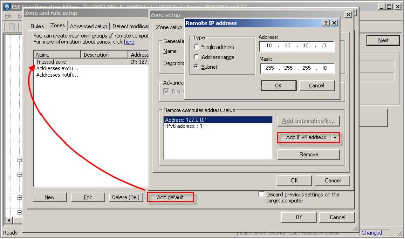Přidání důvěryhodné zóny Personálního firewallu pomocí ERA