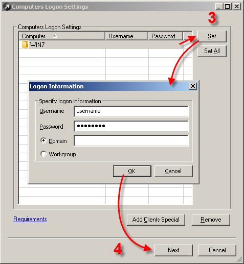 Zadání přihlašovacích údajů při instalaci balíčku