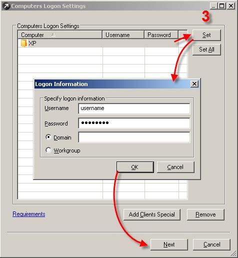 Zadání přihlašovacích údajů při odinstalaci balíčku