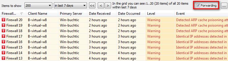 Aktivace přeposílání dat na Syslog server