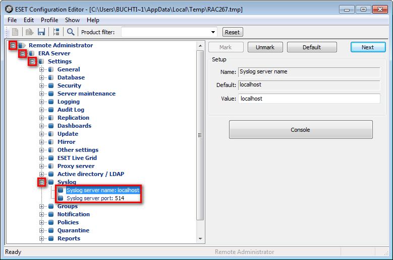 Konfigurační editor ERA > Syslog