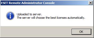 Potvrzení nahrání licenční souboru na server