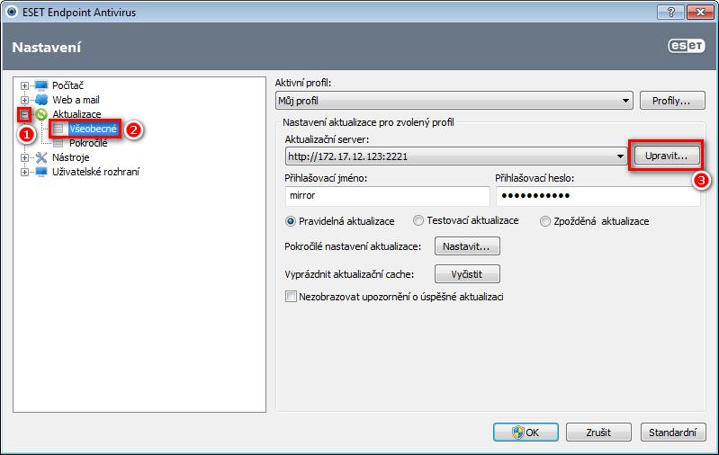 Úprava aktualizačního serveru v nastavení ESET Endpoint Antivirus