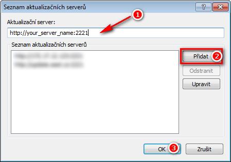 Přidání nového aktualizačního serveru v nastavení ESET Endpoint Antivirus