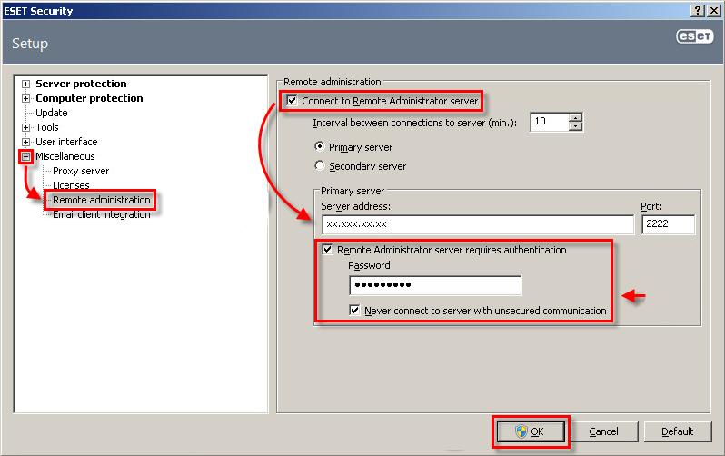 Konfigurace ESET Security pro Kerio na připojení ke vzdálené správě