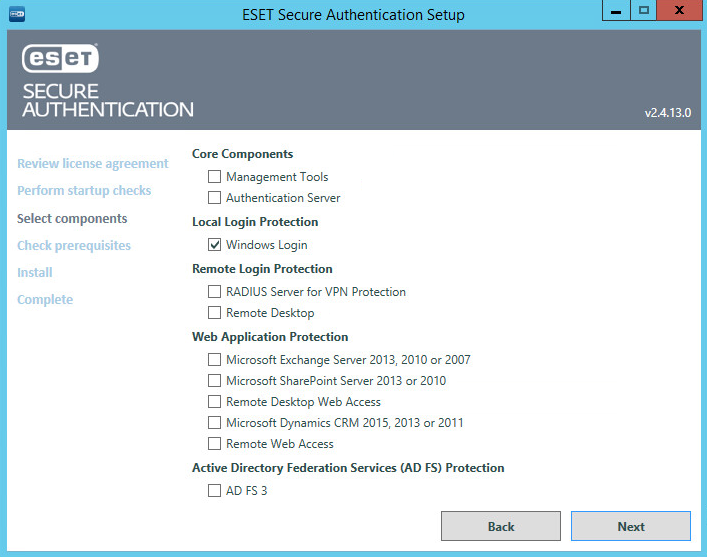 Instalace ESET Secure Authentication