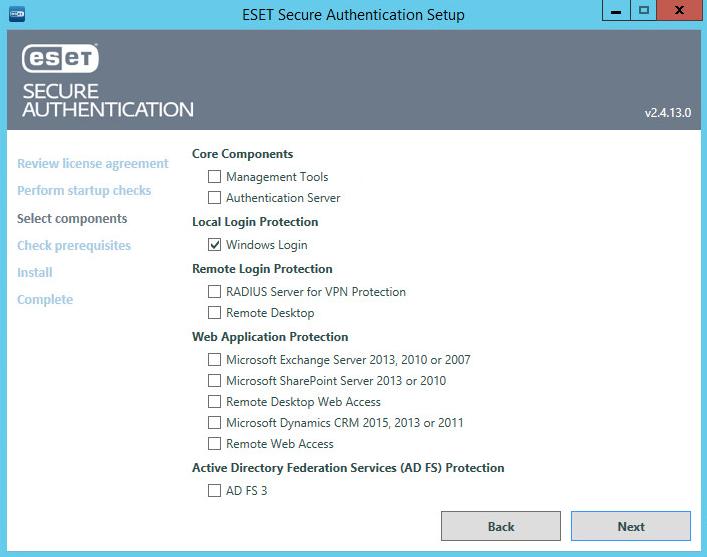 Instalace ESET Secure Authentication