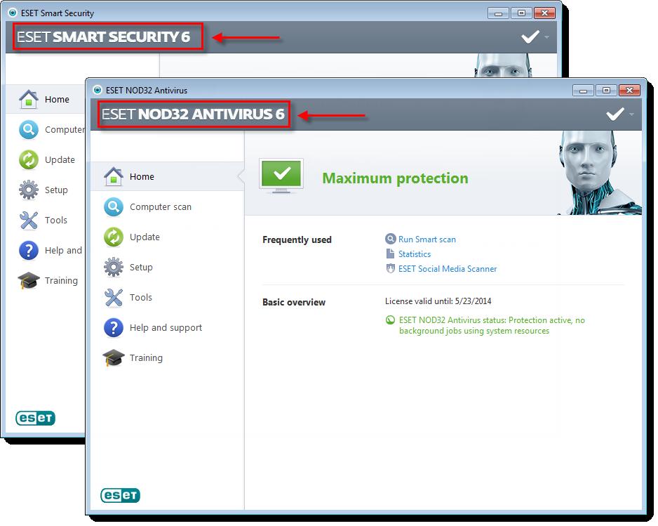 Hlavní okno aplikace ESET