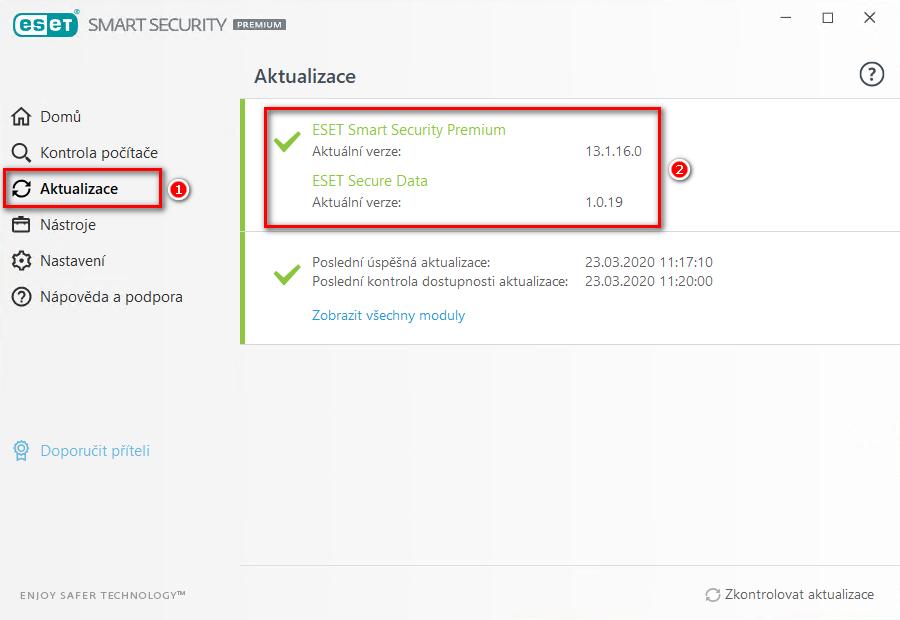 Kontrola nainstalované verze aplikace ESET