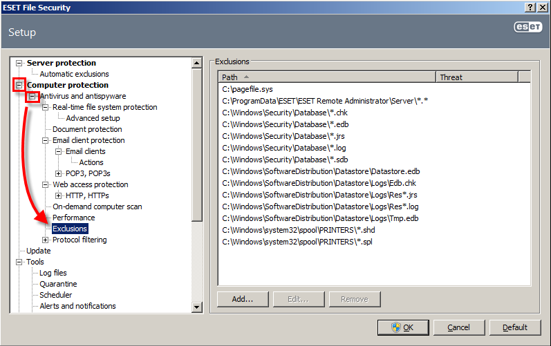 Výjimky aplikace ESET File Security